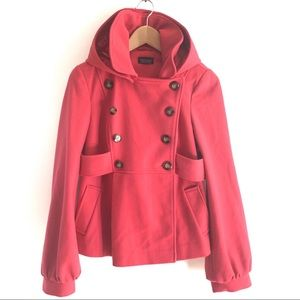 Wool Pink Coat Topshop Double Breasted Hood Size 6